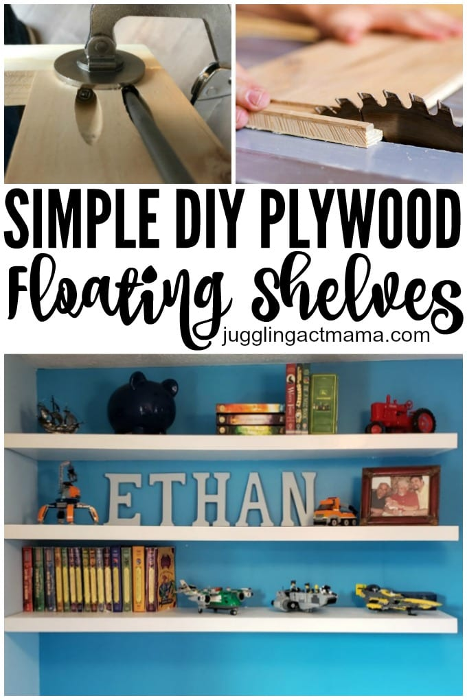 DIY Floating Wood Shelves are easier to build than you might think. I love how simple shelves can become a statement piece in any room! We'll show you How to Make Your Own Floating Shelves in our step-by-step tutorial. via @jugglingactmama
