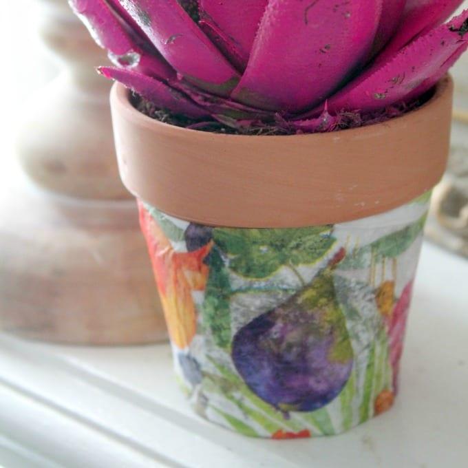close up of a Decoupage Flower Pot