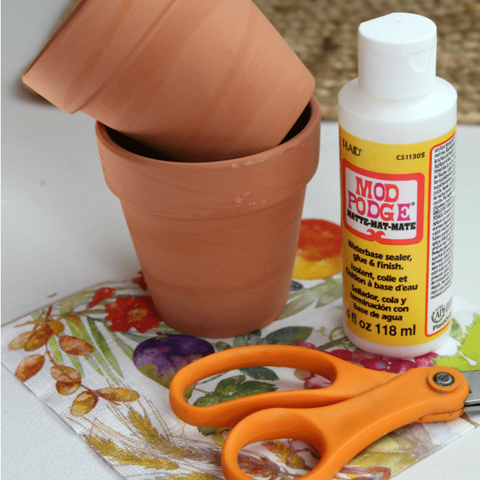Materials needed for DIY Mod Podge gardening pot project