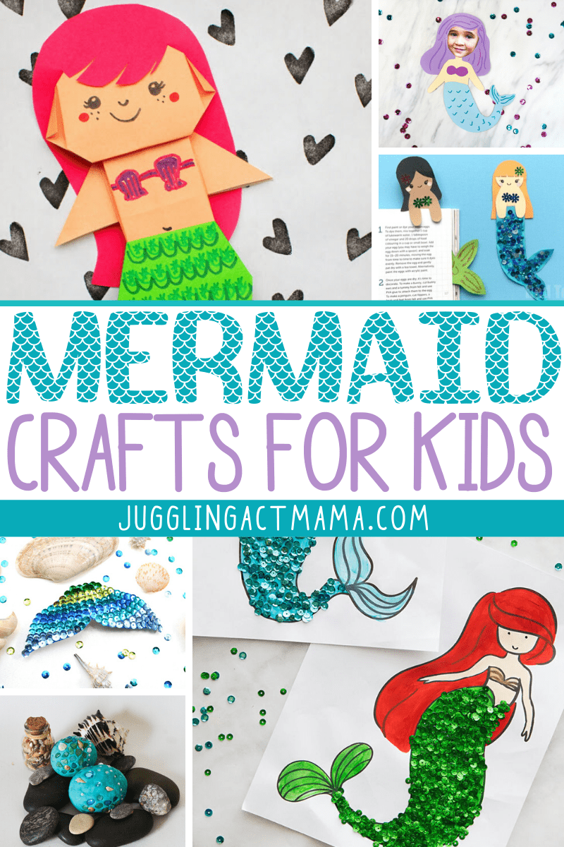 Mermaid Crafts for Kids come in all shapes and sizes, and some of them are fun for grown-ups, too. Check out all these imaginative and creative ideas! via @jugglingactmama