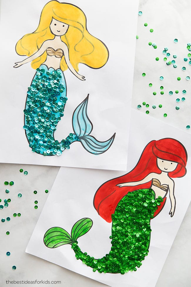 coloring pages - Mermaid Crafts for Kids