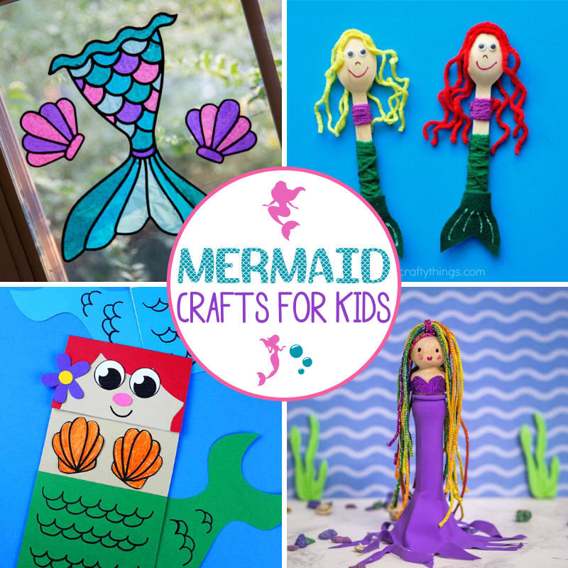 Mermaid Crafts for Kids collage