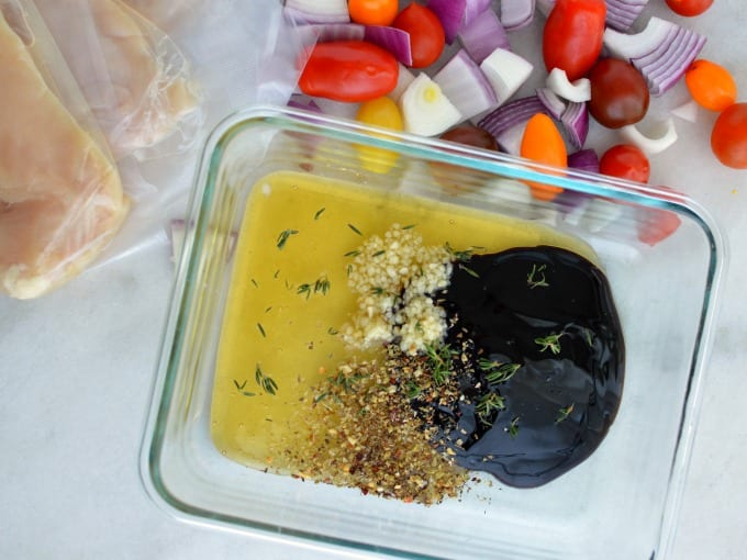 top down view of balsamic chicken marinade ingredients