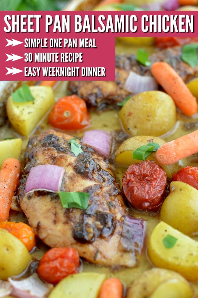 Sheet Pan Balsamic Chicken is an all-in-one dinner with marinated chicken with golden potatoes, carrots and fresh herbs roasted to perfection in the oven. via @jugglingactmama
