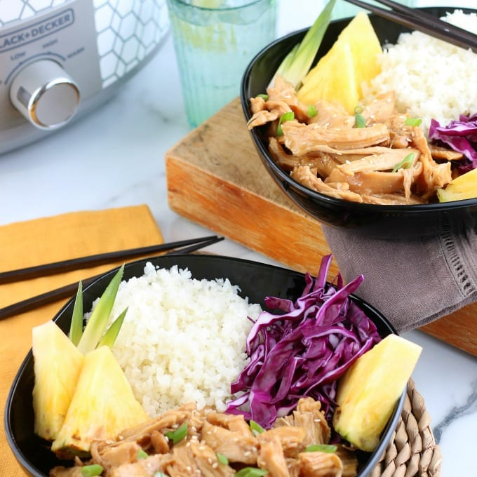 teriyaki chicken bowls with rice and pineapple.