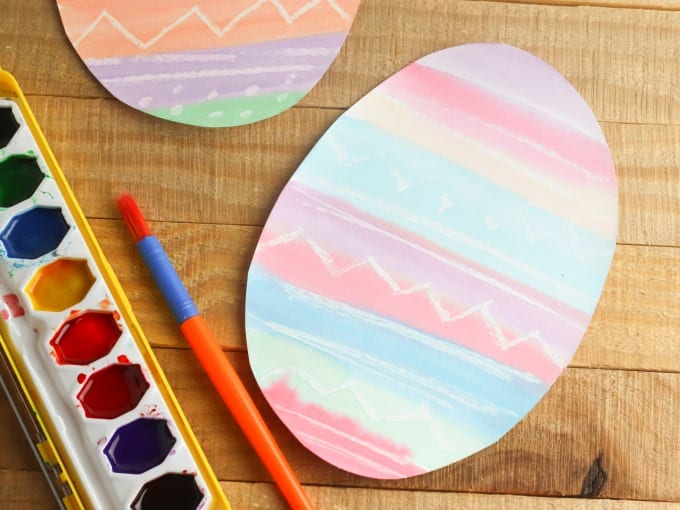 close up of watercolor easter craft