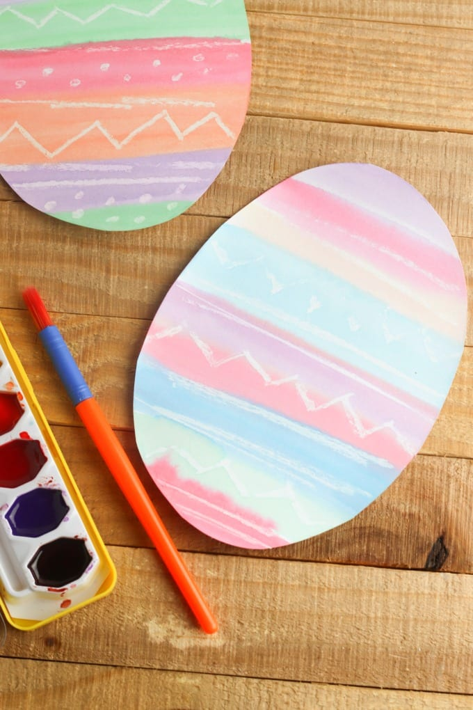 close up of watercolor easter egg painting project