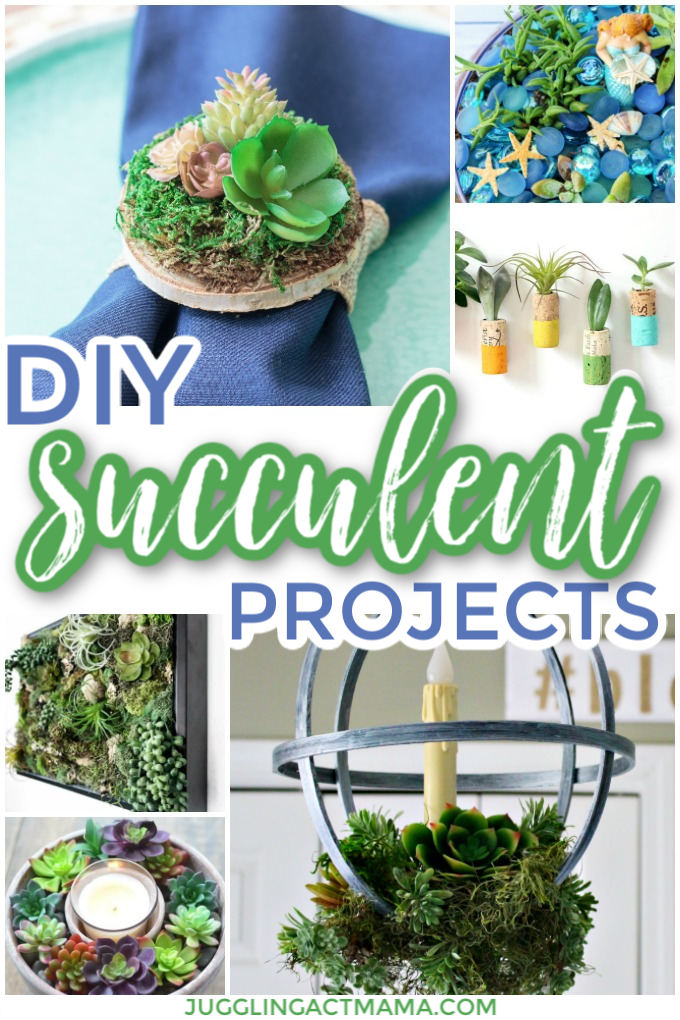 12 Gorgeous and simple DIY Succulent Projects that will help you bring a touch of nature into your home. No green thumb required! via @jugglingactmama