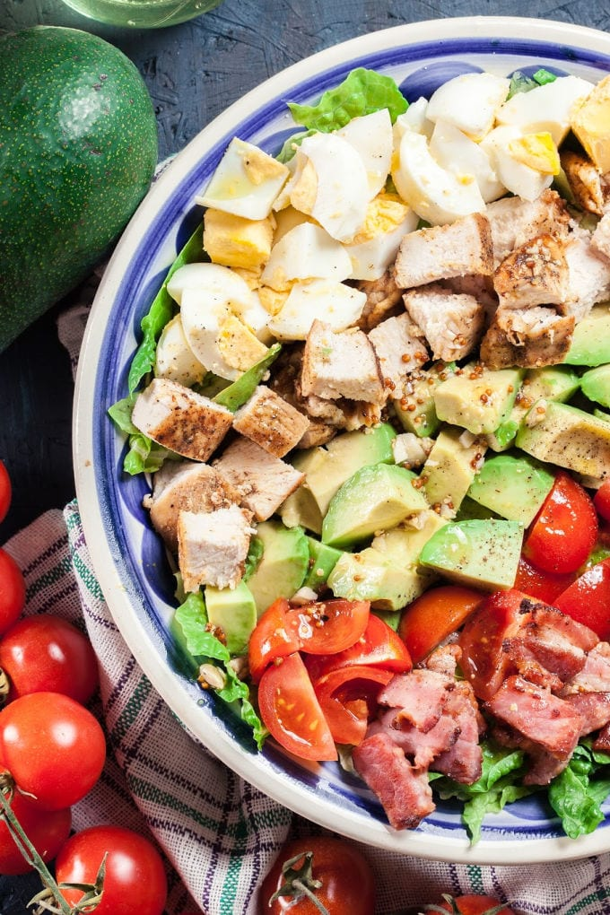 My Chicken Cobb Salad recipe is a delicious summertime salad that's packed with protein and full of flavor. via @jugglingactmama