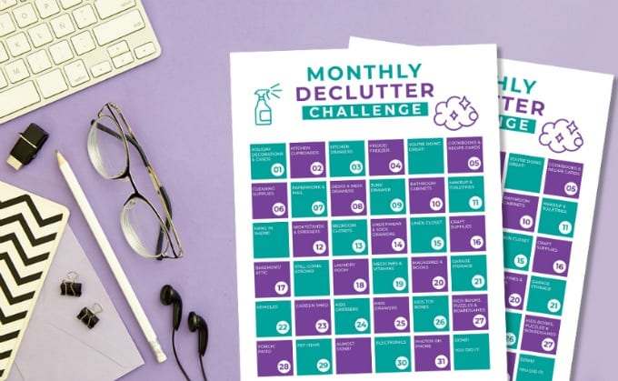 Declutter Challenge - Free 30 Day Declutter Calendar Printable graphic