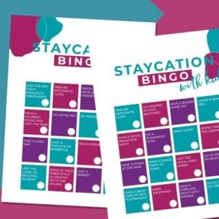 Fun staycation ideas on bingo cards