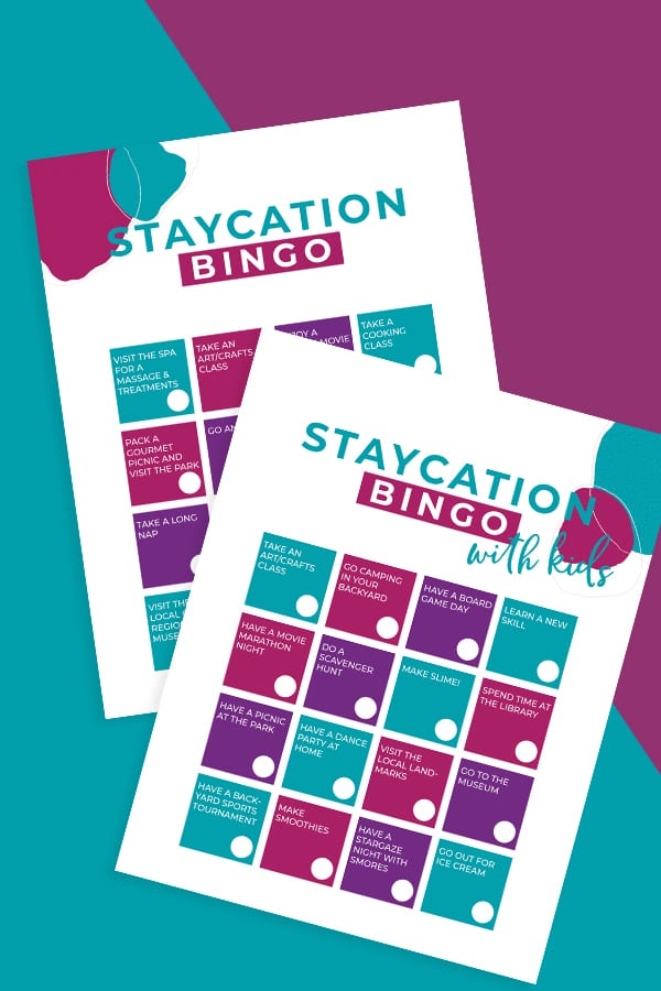 Print off these fun staycation ideas bingo cards and get busy being creative while at home. via @jugglingactmama