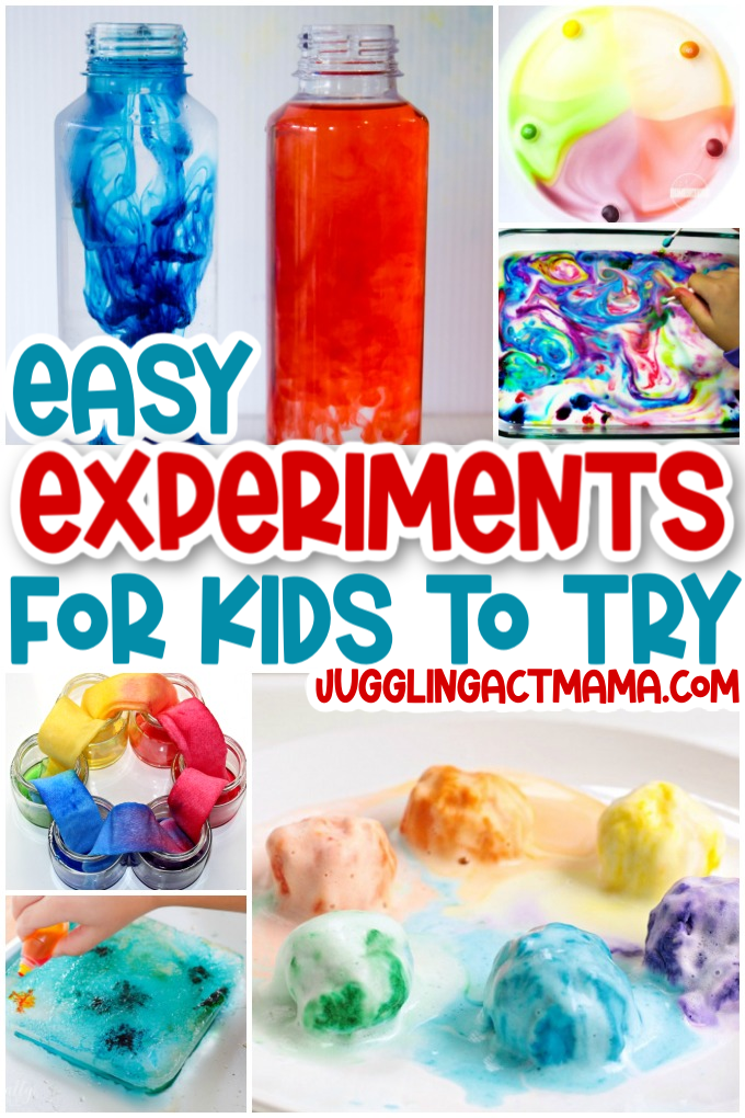 Easy Experiments for Kids - a collection of easy science experiments to do at home with kids that will have them learning and having fun at the same time. via @jugglingactmama