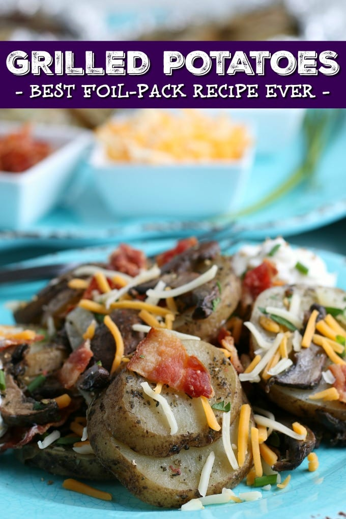 Looking for the best grilled potatoes recipe? We've got you covered with thinly sliced yellow onions, sliced mushrooms (optional), and seasoned russet potatoes. Check out how to grill potatoes in foil for the easiest side dish ever! via @jugglingactmama