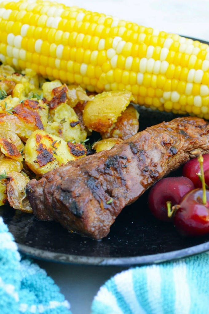 Grilling sirloin steak tips is easy and even your kids will love them. Just pair with your favorite sides and fresh watermelon for dessert. via @jugglingactmama