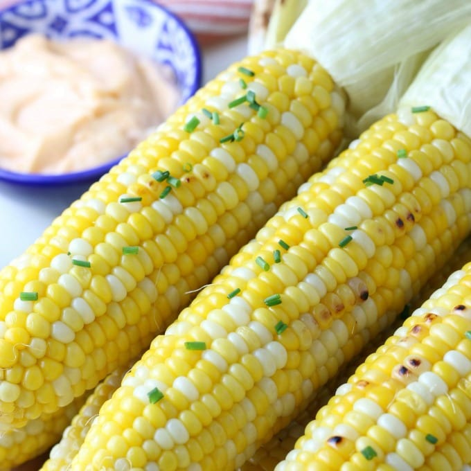 close up of Barbecue Corn on the Cob Recipe