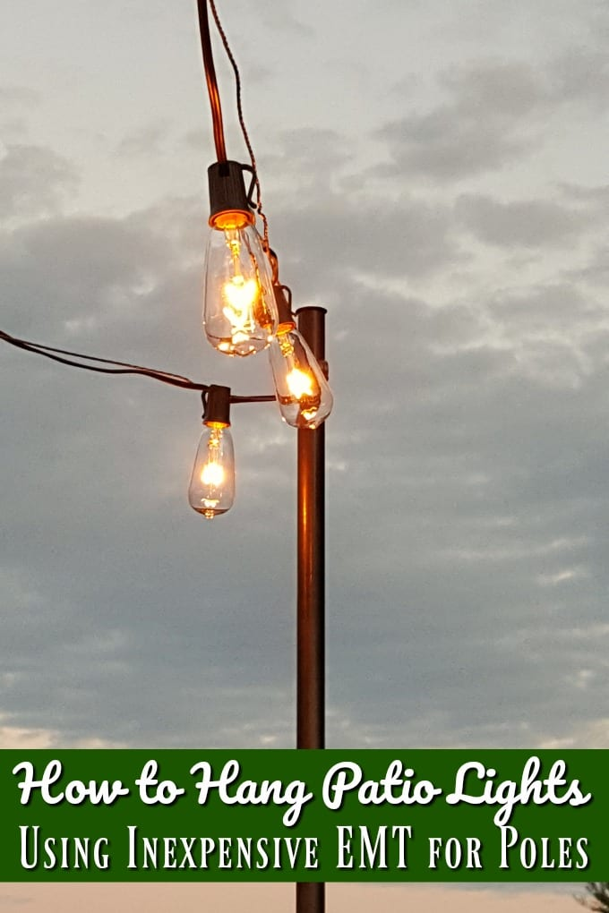 Give your patio a brighter look with new lighting. We teach you how to hang patio lights simply and affordably in just an afternoon. via @jugglingactmama