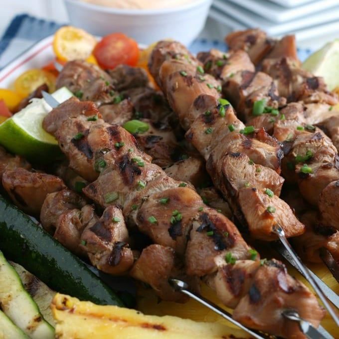 close up of Chicken Kabobs
