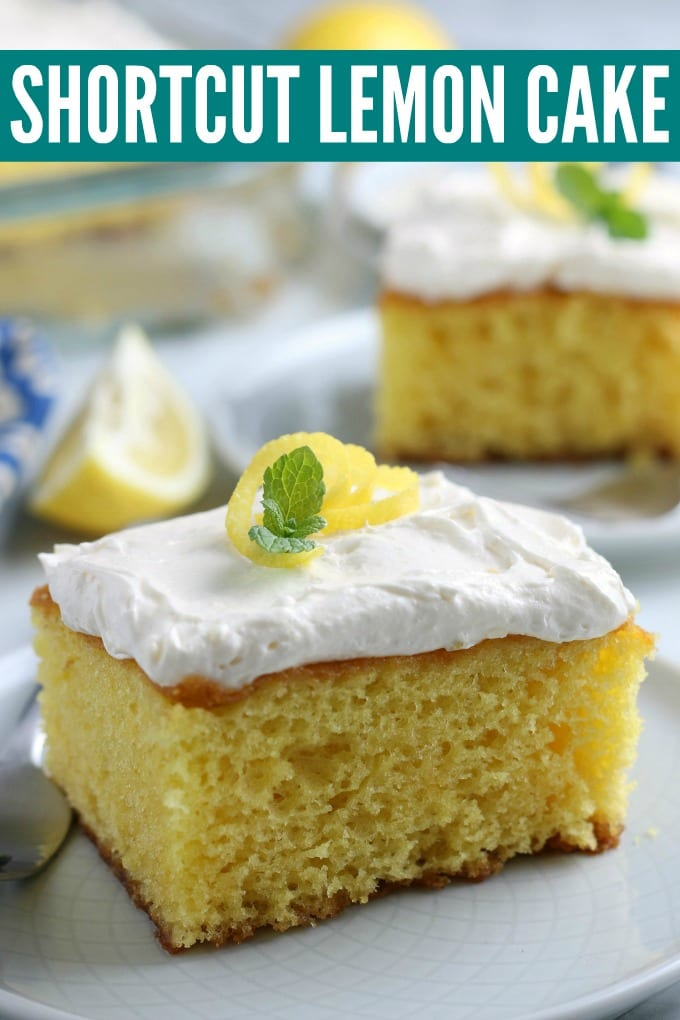 This tangy and delicious simple lemon cake recipe is going to become your go-to spring and summer dessert. We'll show you just how to make lemon cake using our easy shortcut! via @jugglingactmama
