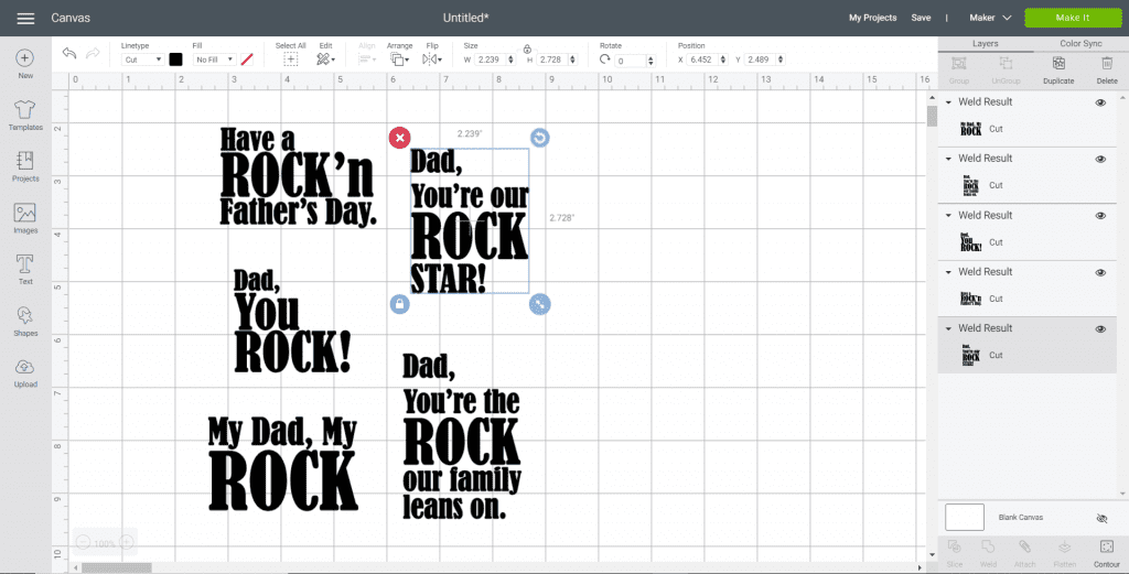 "Screenshot of the Cricut Design Space with several Father's Day designs - and ""Dad, You're Our Rock Star"" selected."