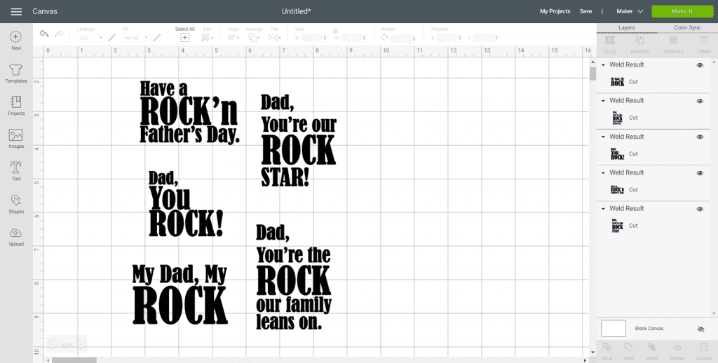 Screenshot of the Cricut Design Space with several Father's Day designs.