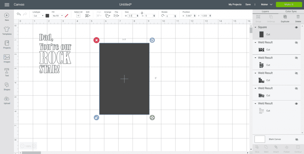 Screenshot of the Cricut Design Space with Father's Day design and a square shape that will act as the photo frame backing.