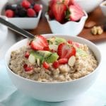 Instant pot oatmeal in a white bowl.