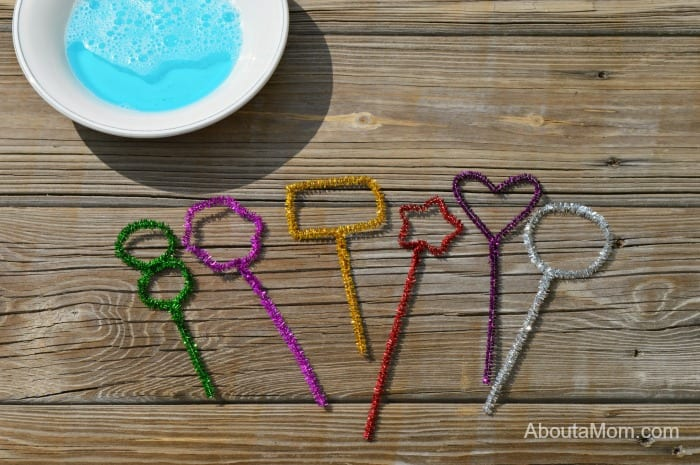 Homemade bubble wands made from chenille strips.