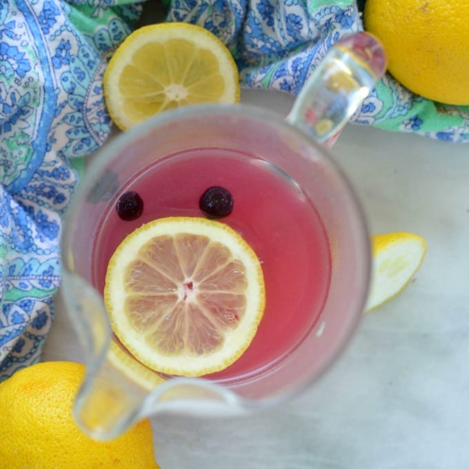 A birds eye view of a blueberry lemonade recipe in a glass pitcher. Topped with a fresh lemon slice and blueberries.