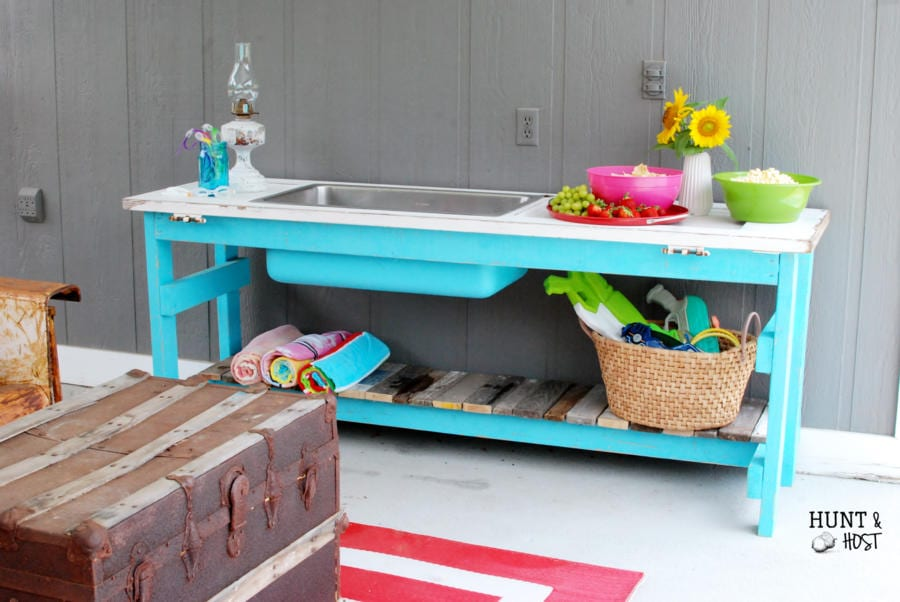 DIY Deck Furniture - Outdoor Buffet Table from Salvaged Living