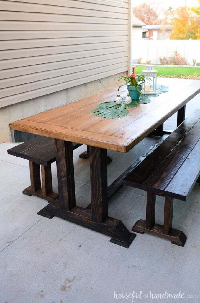 DIY Outdoor Patio Furniture - Outdoor Dining Table with Benches from Houseful of Handmade