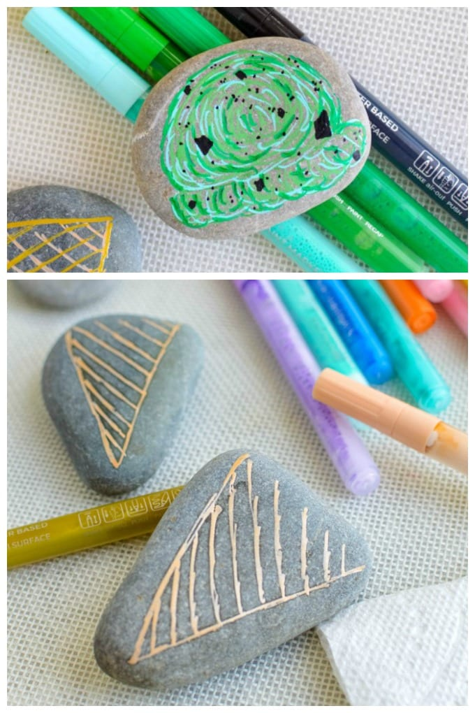 Learn how and what to paint on a rock and keep your kids busy this summer. via @jugglingactmama