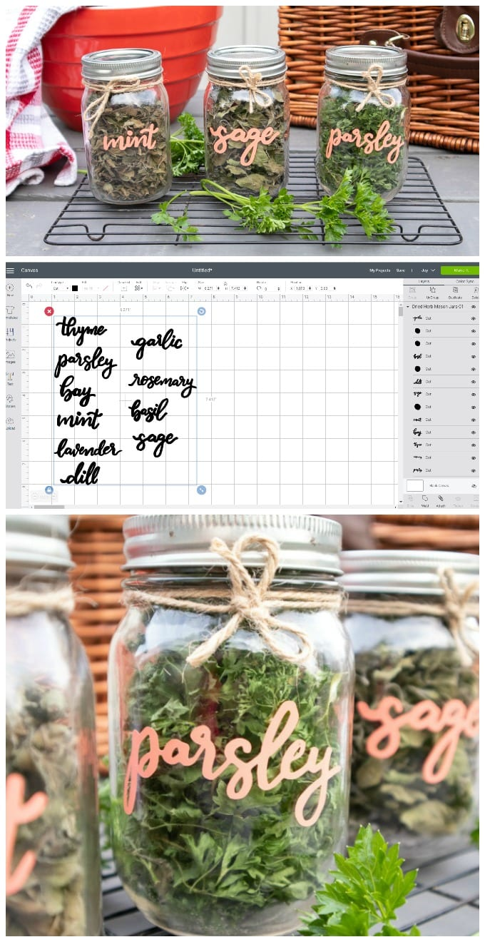 Give your pantry a sweet upgrade with these simple to make Cricut DIY Dried Herb Mason Jars. (FREE SVG File!) via @jugglingactmama