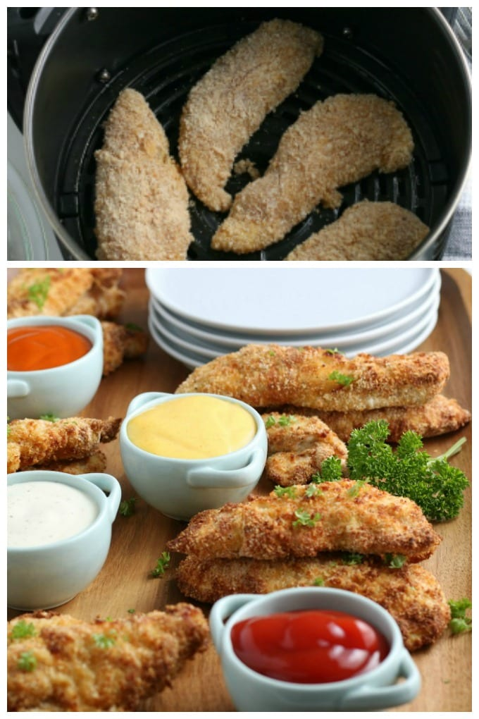 How to Cook Chicken Tenders in an Air Fryer - This delicious Air Fryer Chicken Tenders Recipe turns out mouthwatering crispy and moist tenders perfectly. via @jugglingactmama