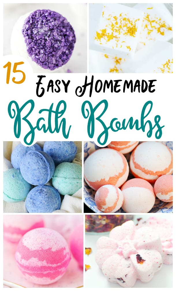 This round up of Easy Homemade Bath Bombs are an affordable alternative to fancy boutique versions, and they make great gifts!  via @jugglingactmama