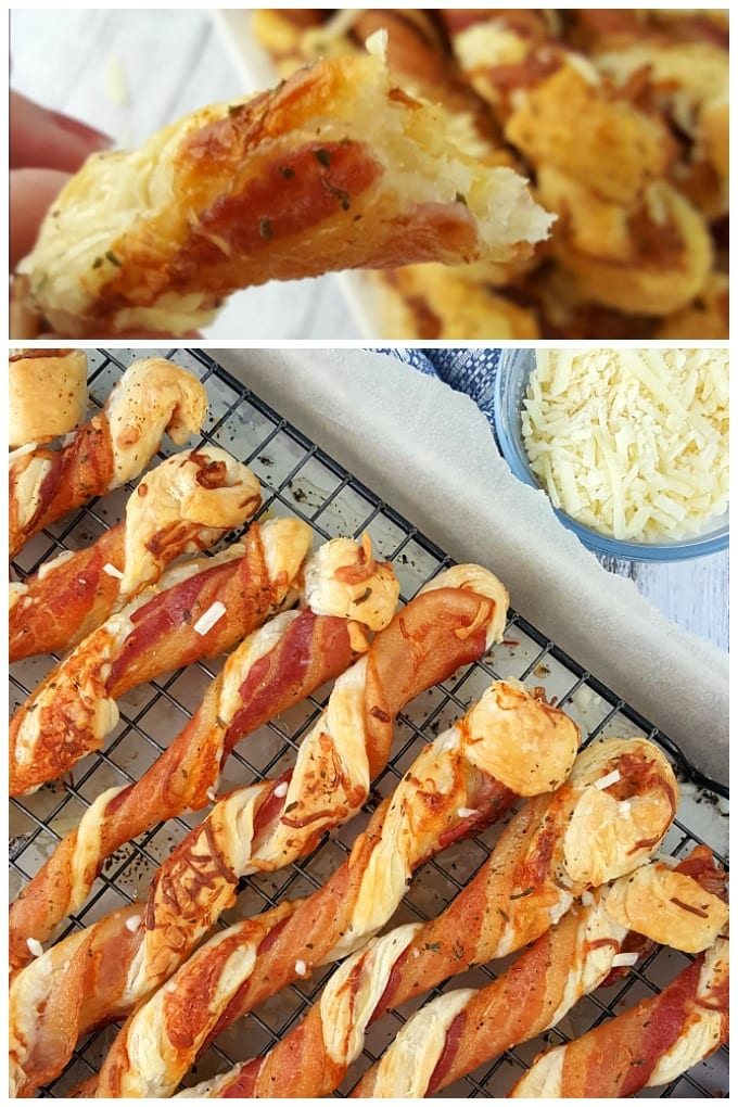Bacon puff pastry twists are the side or snack you've been waiting for. You will love these easy to make savory bacon and cheese twists. Let me show you how to make them. via @jugglingactmama