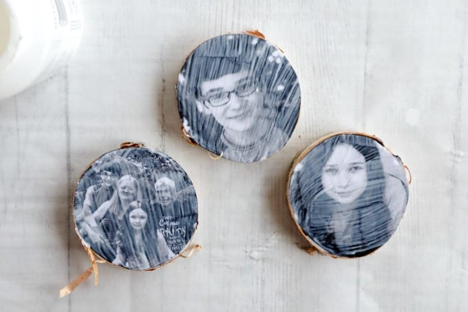 Step by step instructions for creating this wood photo ornament craft using mod podge.