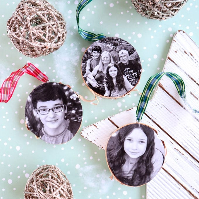 Christmas ornaments - black and white photos on wood slices