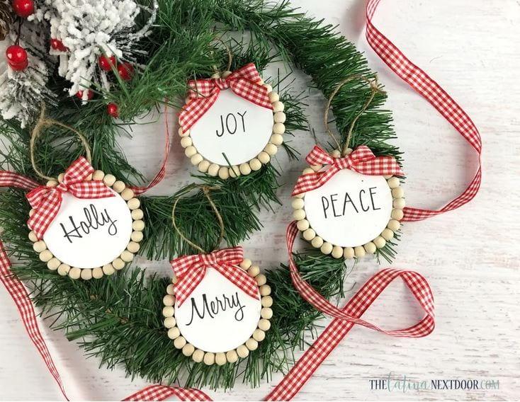 Dollar Tree Farmhouse Christmas Ornaments - easy cheap Christmas crafts