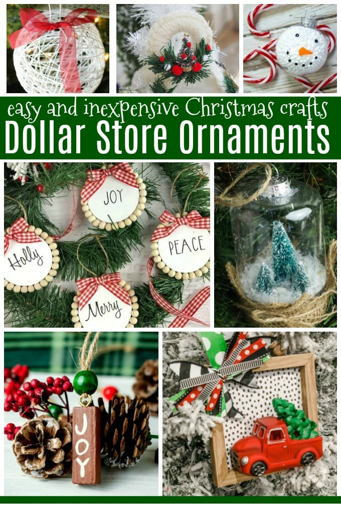 collage image of Dollar Store Ornaments | Cheap Christmas Crafts