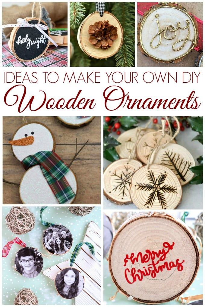 collage of DIY wood slice ornaments