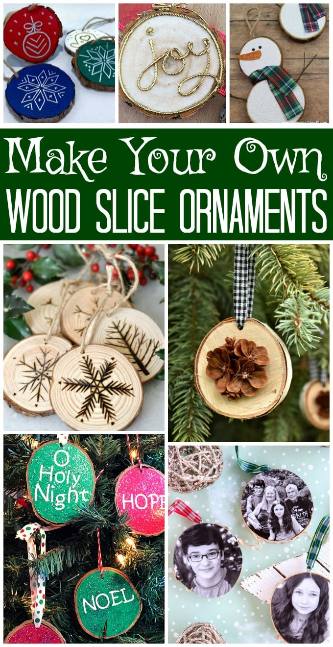 DIY Wood Slice Ornaments - This collection of wood slice ornament ideas has everything from rustic to glam ornament tutorials. via @jugglingactmama