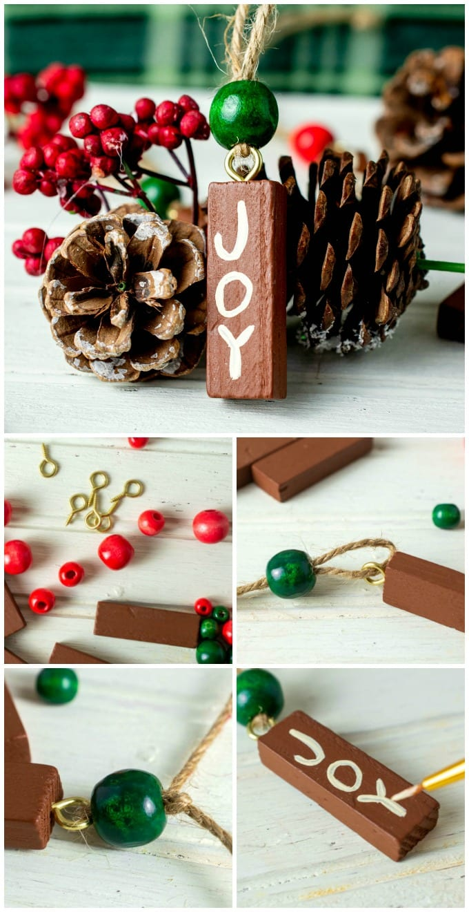 Painted Wooden Christmas Ornaments - this is a quick and easy DIY craft that's fun for the whole family. Our tutorial will show you how to make your own hand painted wood ornaments, plus we have ideas for personalizing these painted wood ornaments, too. via @jugglingactmama