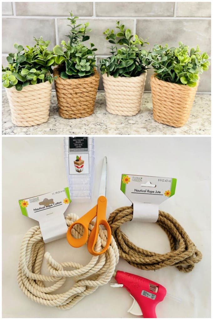DIY Succulent Planter Dollar Tree Craft Project - This inexpensive, fun and easy DIY Dollar Tree Planter is the perfect way to add a little nautical charm to your home. The small containers are the perfect size for individual succulent plants. via @jugglingactmama