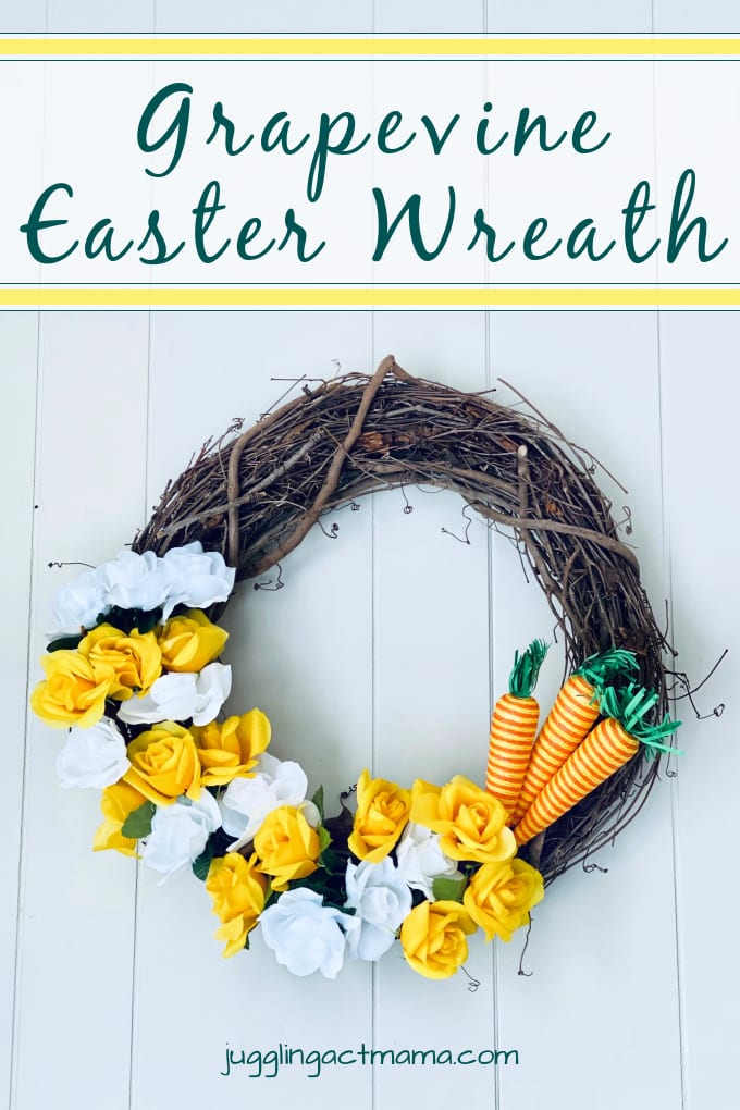 How to Make an Easter Wreath - if you enjoy making your own home decor, you'll love this Grapevine Easter Wreath tutorial! It is a simple and inexpensive way to add a little Easter charm to your home. via @jugglingactmama