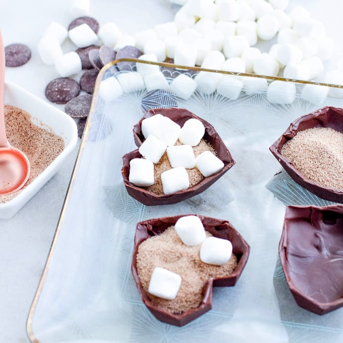 Chocolate heart halves filled with latte mix and marshmallows.