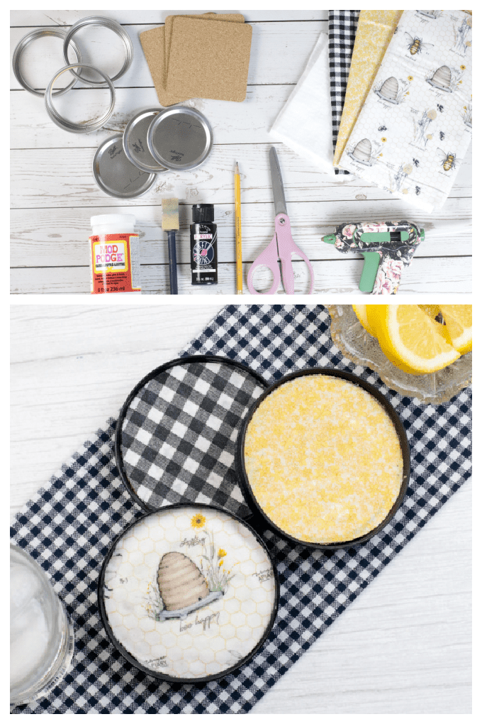 Make your own Mason Jar Lid Coasters using fabric, cork and mason jar lids! It is a simple inexpensive way to add a little charm to your home. Plus, this Mason Jar Lid Coasters DIY project also makes a great gift! via @jugglingactmama