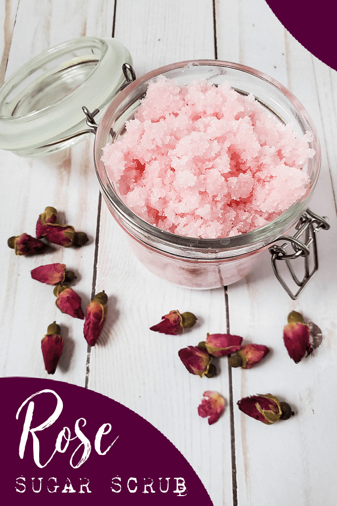 Rose Sugar Scrub is a simple, yet decadent bath time treat that's perfect for winter skin or given as a gift for Valentine's Day. via @jugglingactmama