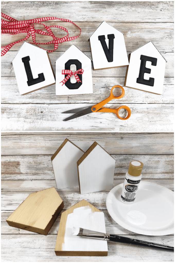 Decorative Wooden Houses are all the rage and so easy to make at home. This is a fun weekend project you can make in 30 minutes. via @jugglingactmama
