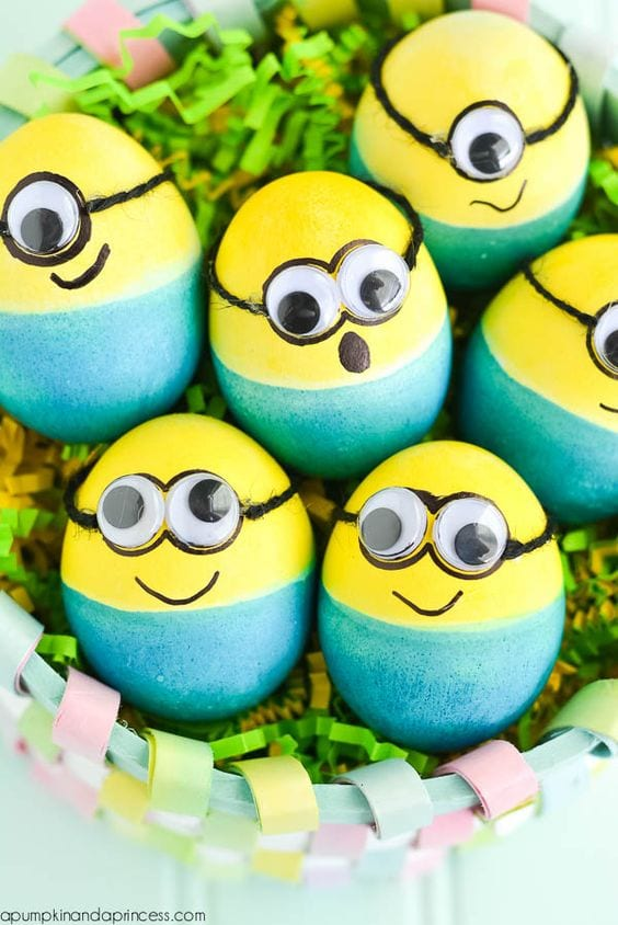 Dyed Minion Eggs from a Pumpkin and a Princess